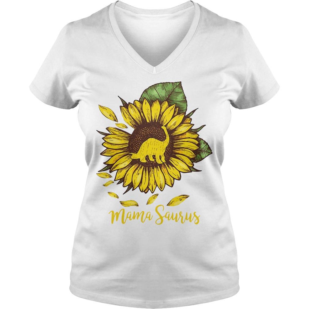 Mama saurus sunflower V-neck T-shirt