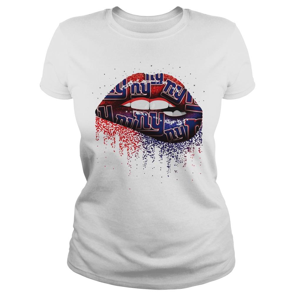 New York Giants lips Ladies tee