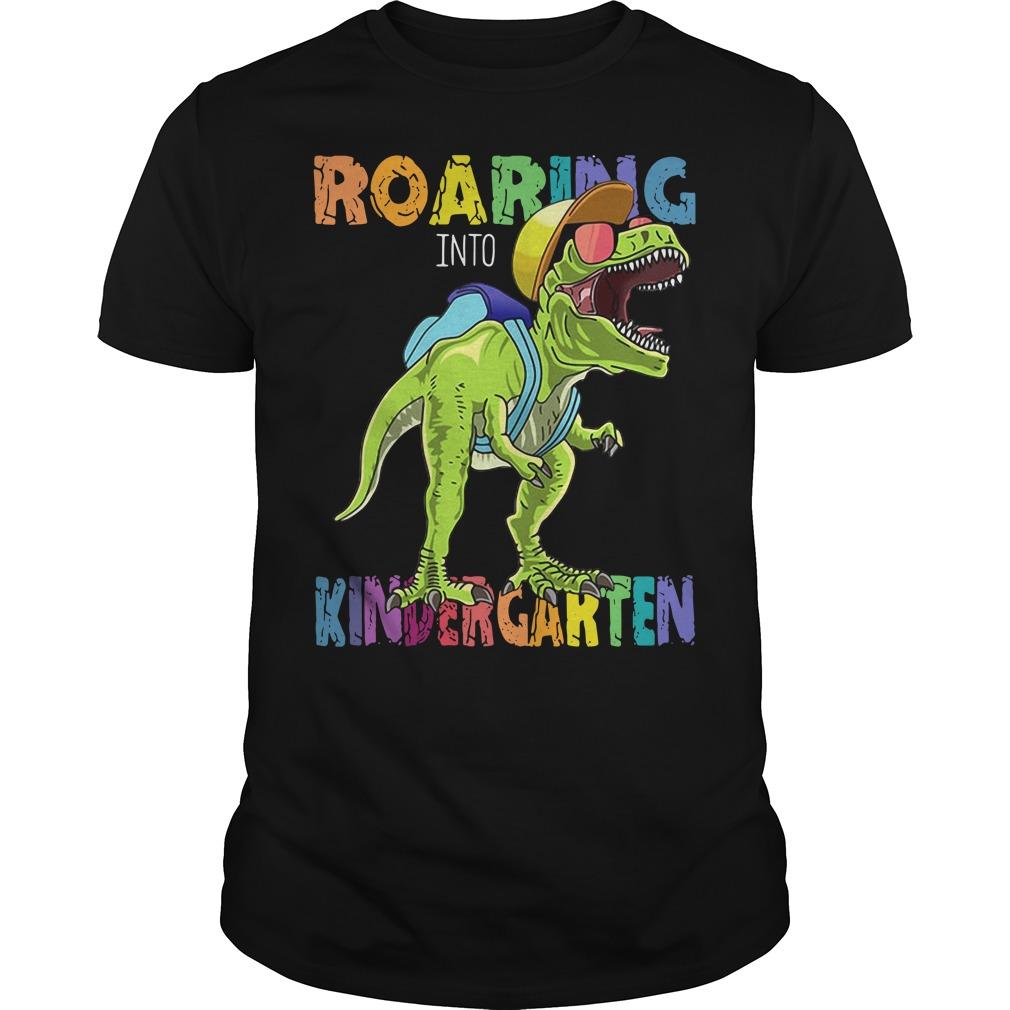 Roaring Into First Grade Dinosaur Back To School Guys shirt