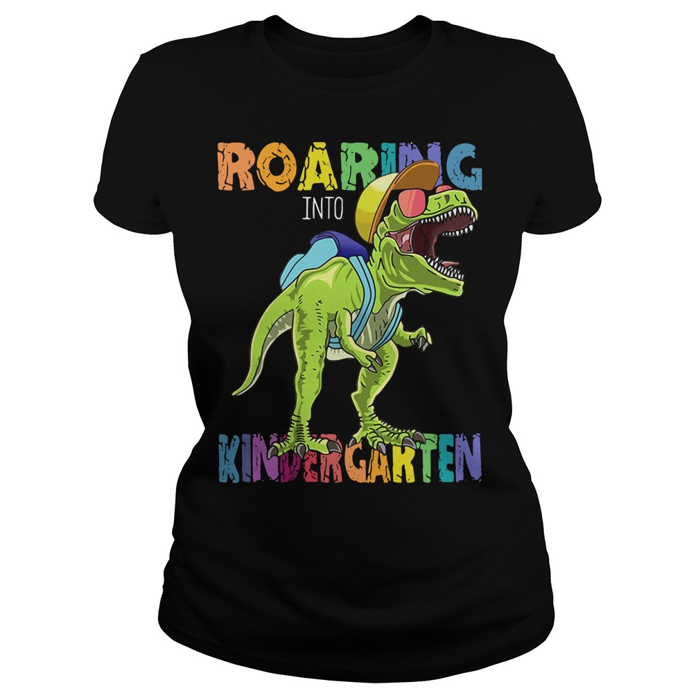Roaring Into First Grade Dinosaur Back To School Ladies tee