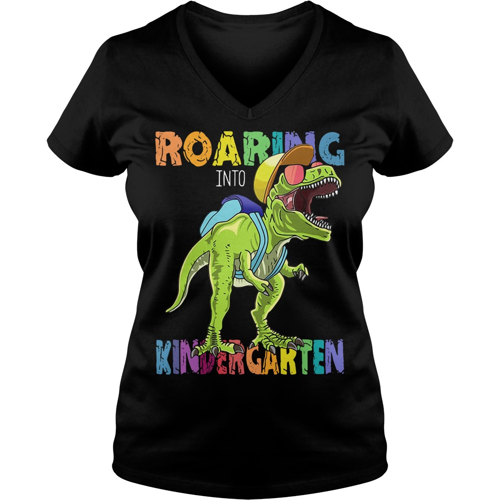 Roaring Kindergarten Dinosaur T Rex Back to School V-neck T-shirt