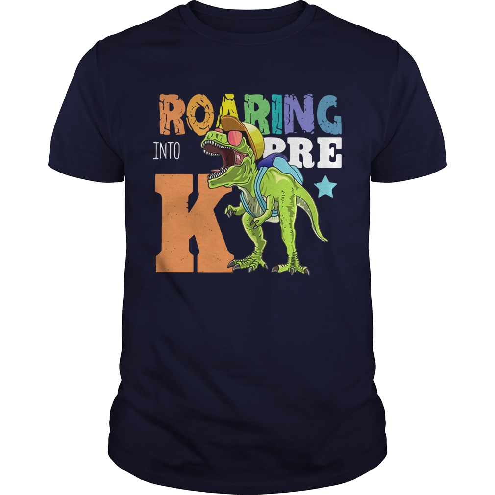 Roaring Into Pre K Dinosaur Wearing A Cap Guys shirt