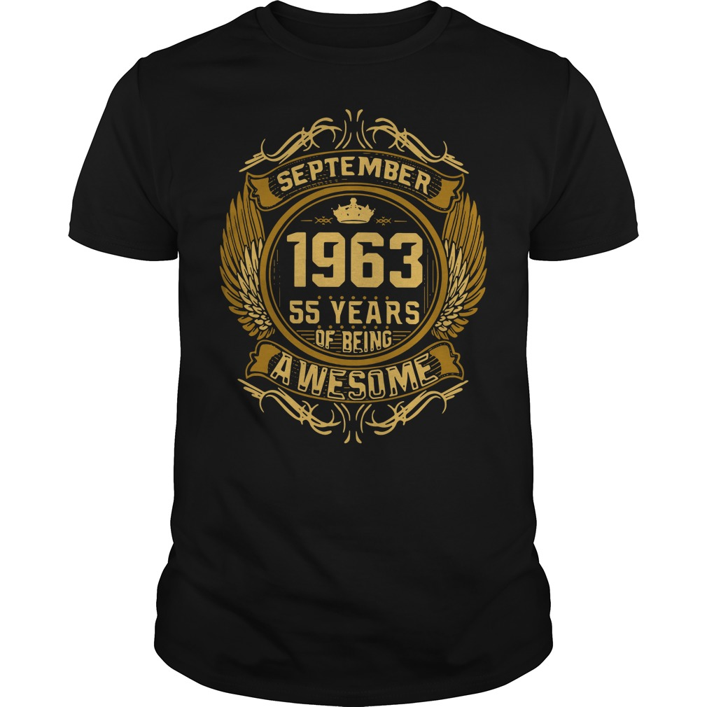 September 1963 55 years of being awesome Guys shirt