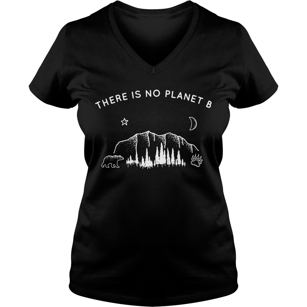 There is no planet B Bear Star Paw Moon V-neck T-shirt