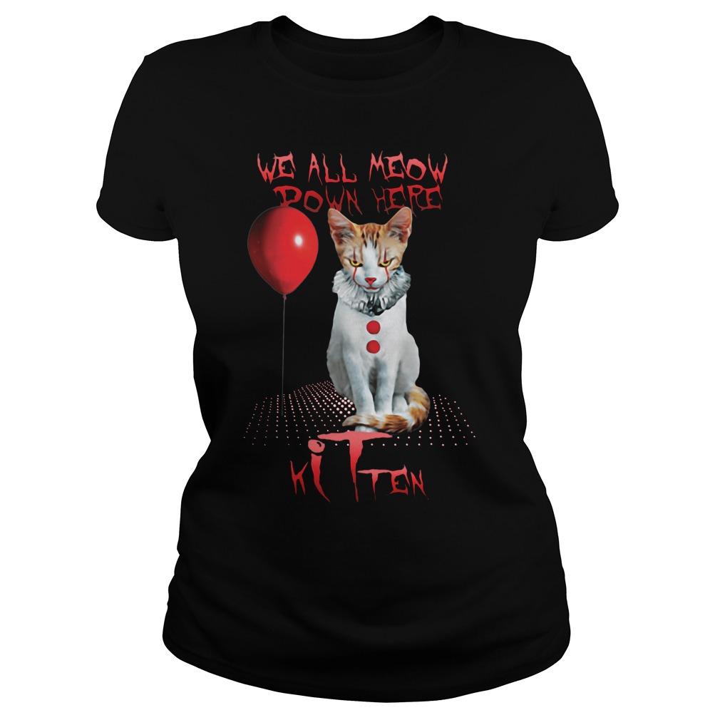 We all meow power here cat kitten Ladies tee