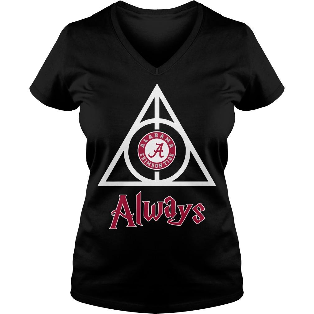 Alabama Crimson Tide Deathly Hallows Always V-neck T-shirt