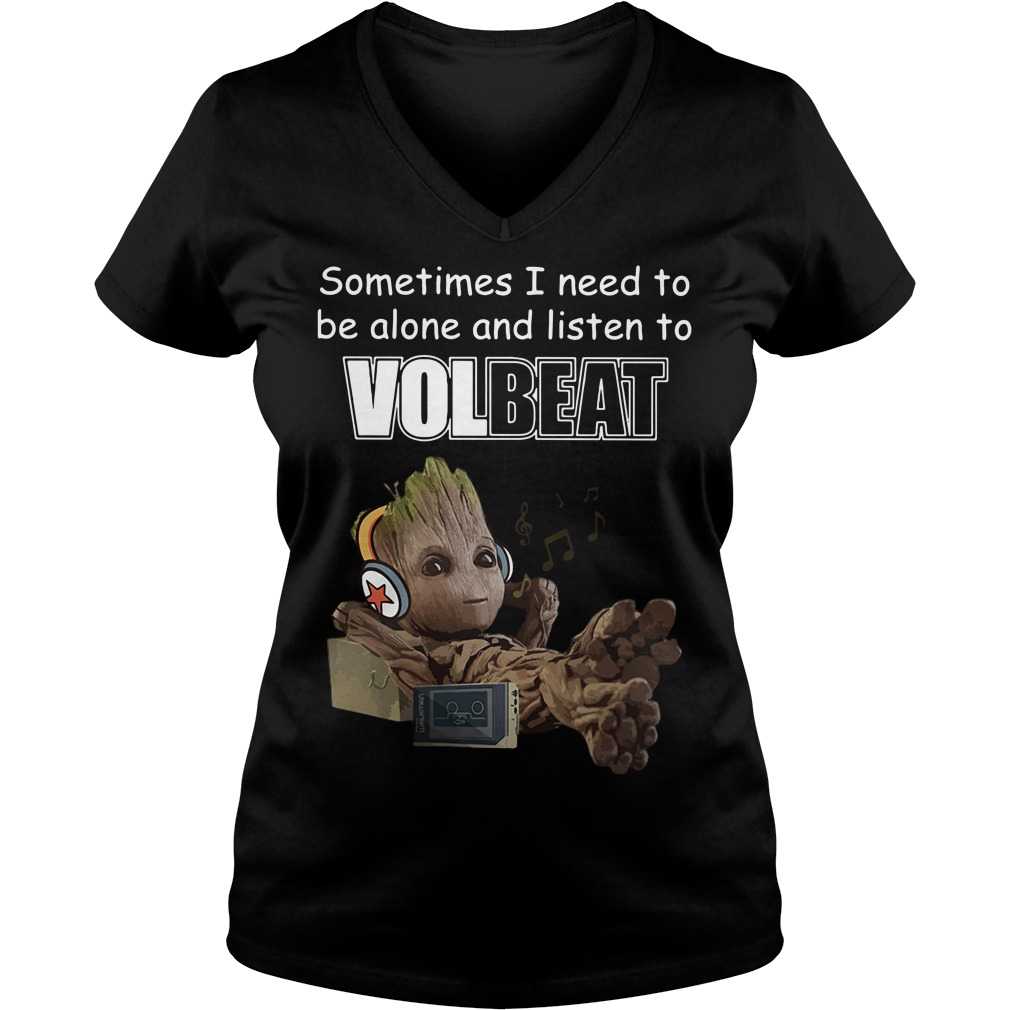 Baby Groot sometimes I need to be alone and listen to Linkin Park V-neck T-shirt