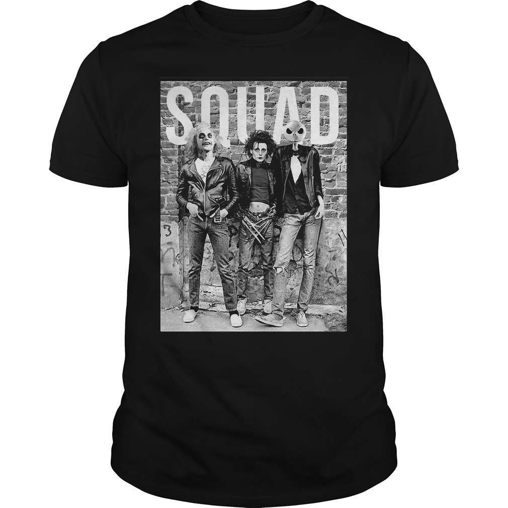 Beetlejuice Edward Scissorhands and Jack Skellington squad Guys shirt