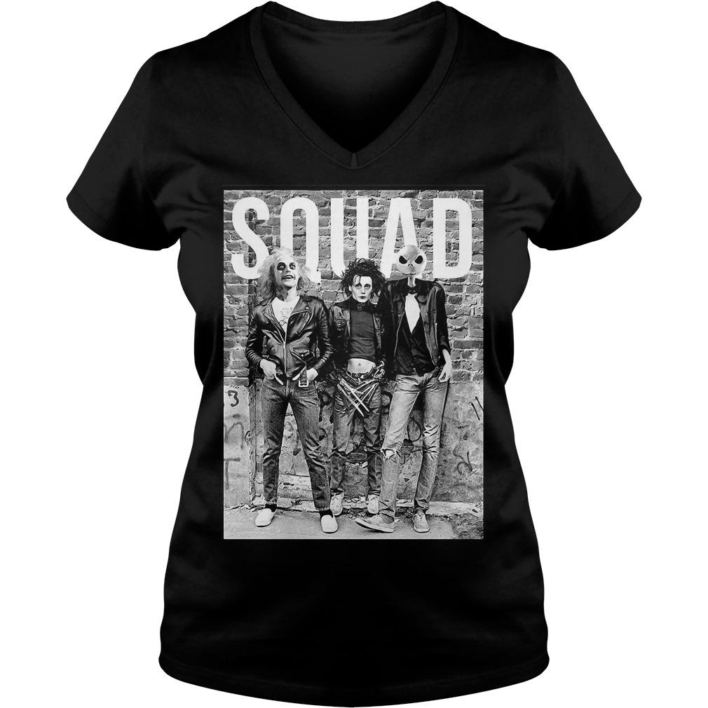 Beetlejuice Edward Scissorhands and Jack Skellington squad V-neck T-shirt
