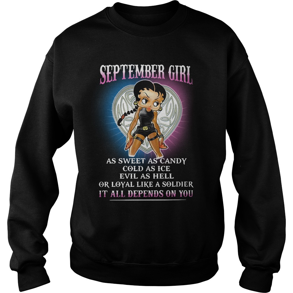 Betty Boop: September Girl As Sweet As Candy Cold As Ice Sweater