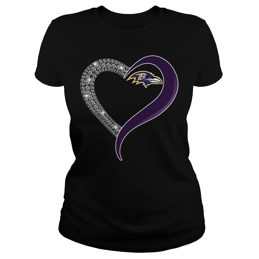 Diamond Baltimore Ravens love Ladies tee