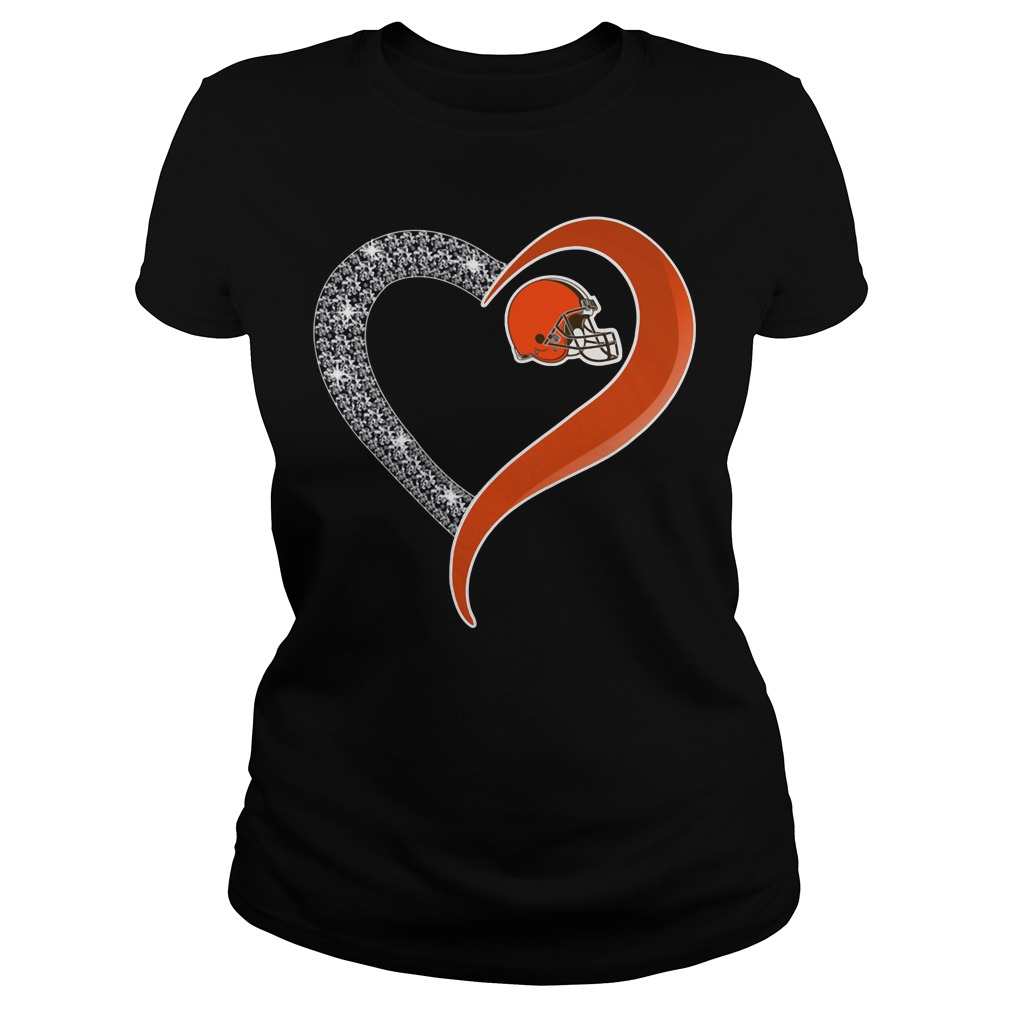 Diamond Cleveland Browns love Ladies tee