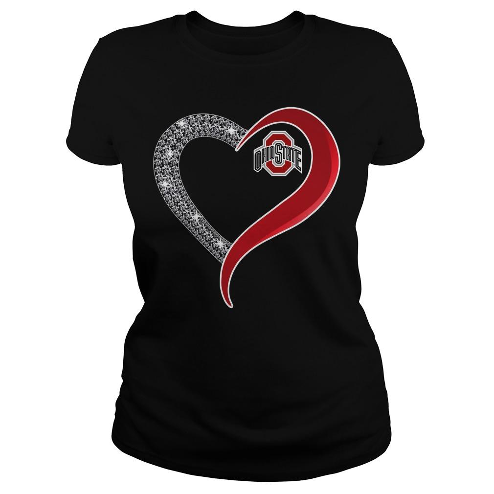 Dinamond Ohio State Buckeyes love Ladies tee