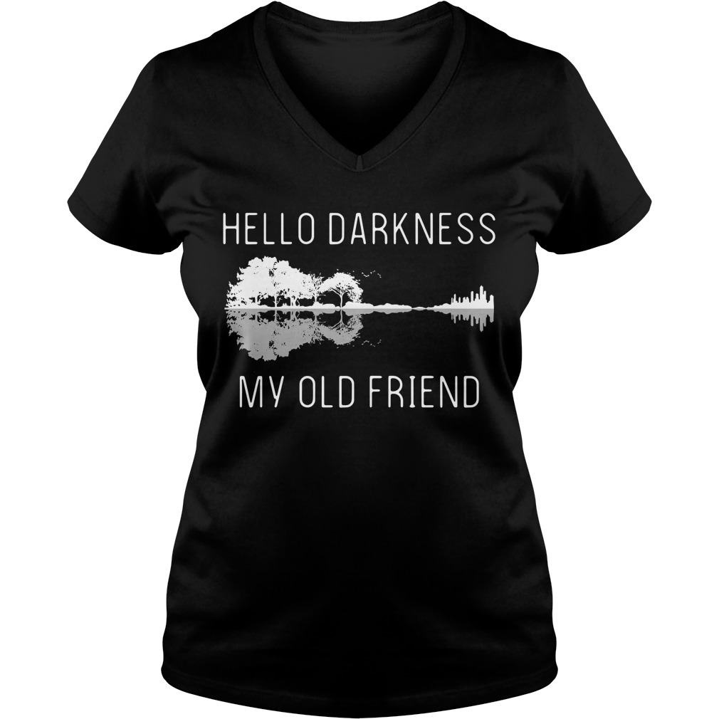 Guitar hello darkness my old friend V-neck T-shirt