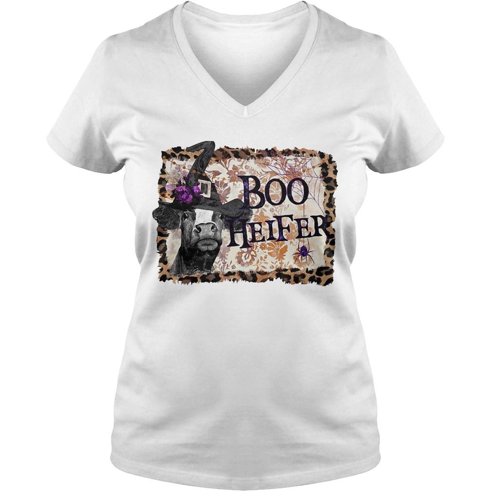 Halloween Boo Heifer V-neck T-shirt