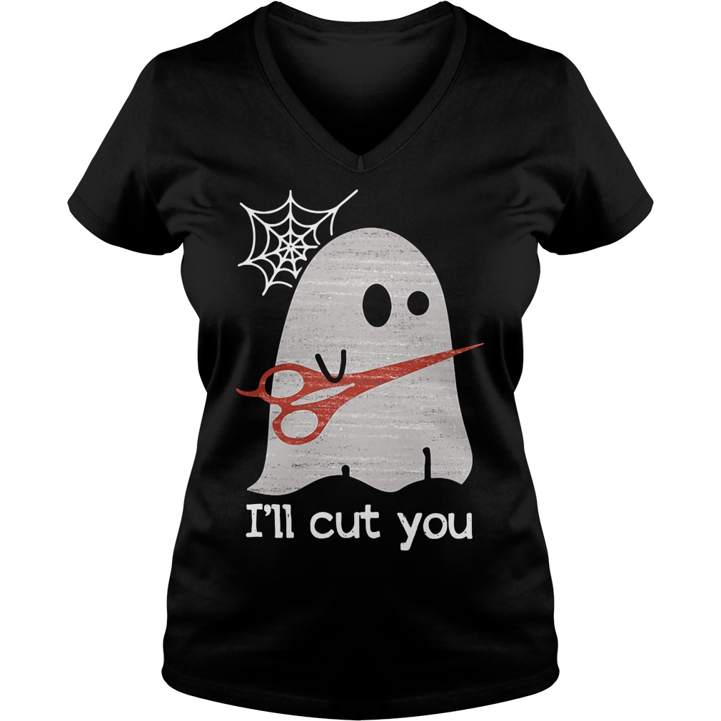 Halloween ghost I'll cut you V-neck T-shirt