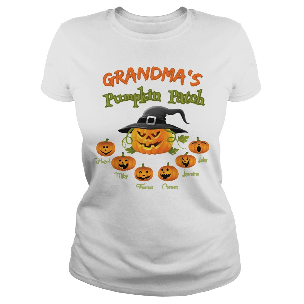Halloween Grandma's pumpkin patch Hazel Mike Thomas Ladies tee