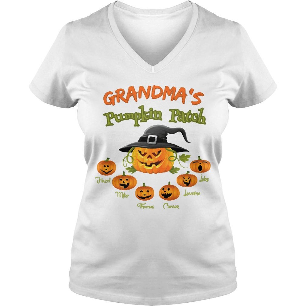 Halloween Grandma's pumpkin patch Hazel Mike Thomas V-neck T-shirt