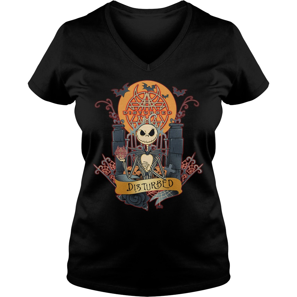Halloween Jack Skellington Disturbed V-neck T-shirt