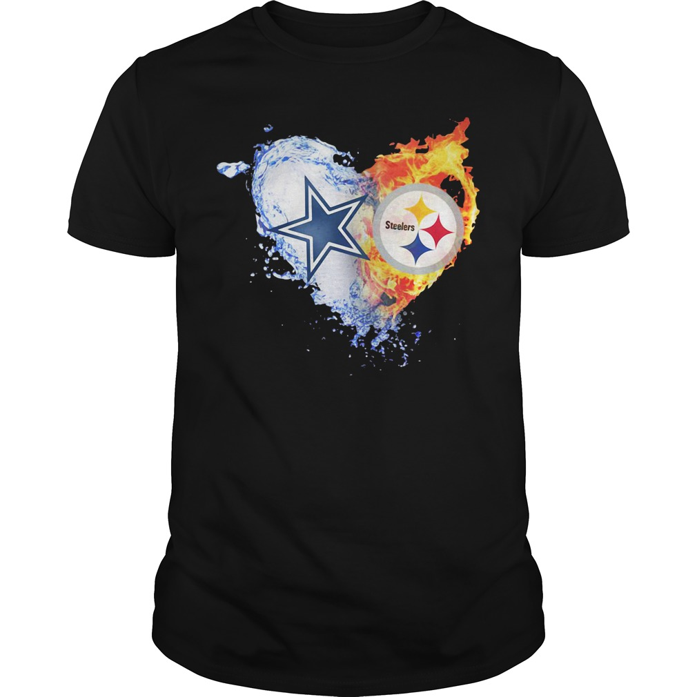 Heart Dallas Cowboys ice Pittsburgh Steelers fire Guys shirt