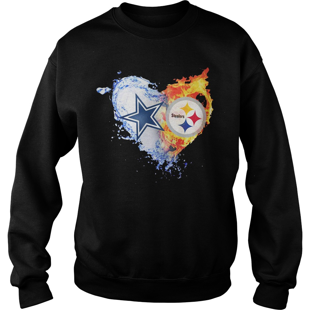 Heart Dallas Cowboys ice Pittsburgh Steelers fire Sweater