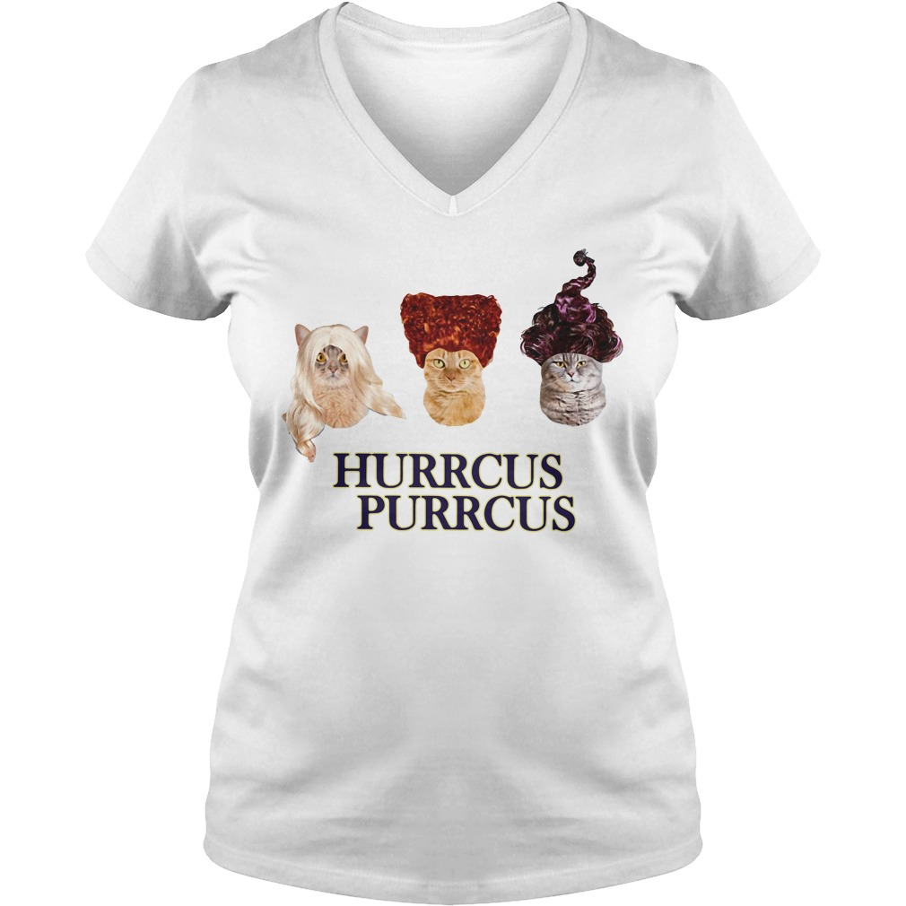 Hocus Pocus cat Hurrcus purrcus V-neck T-shirt