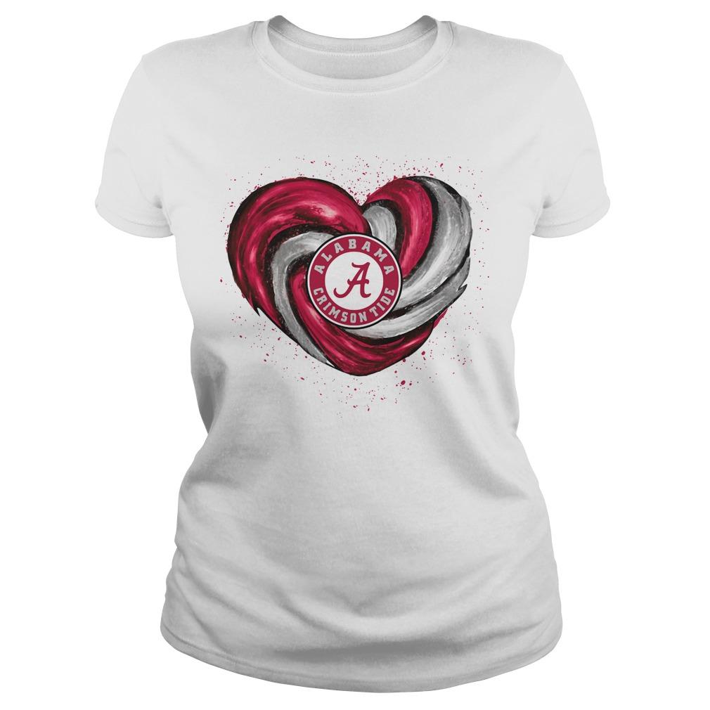 Hurricane Alabama Crimson Tide heart Ladies tee