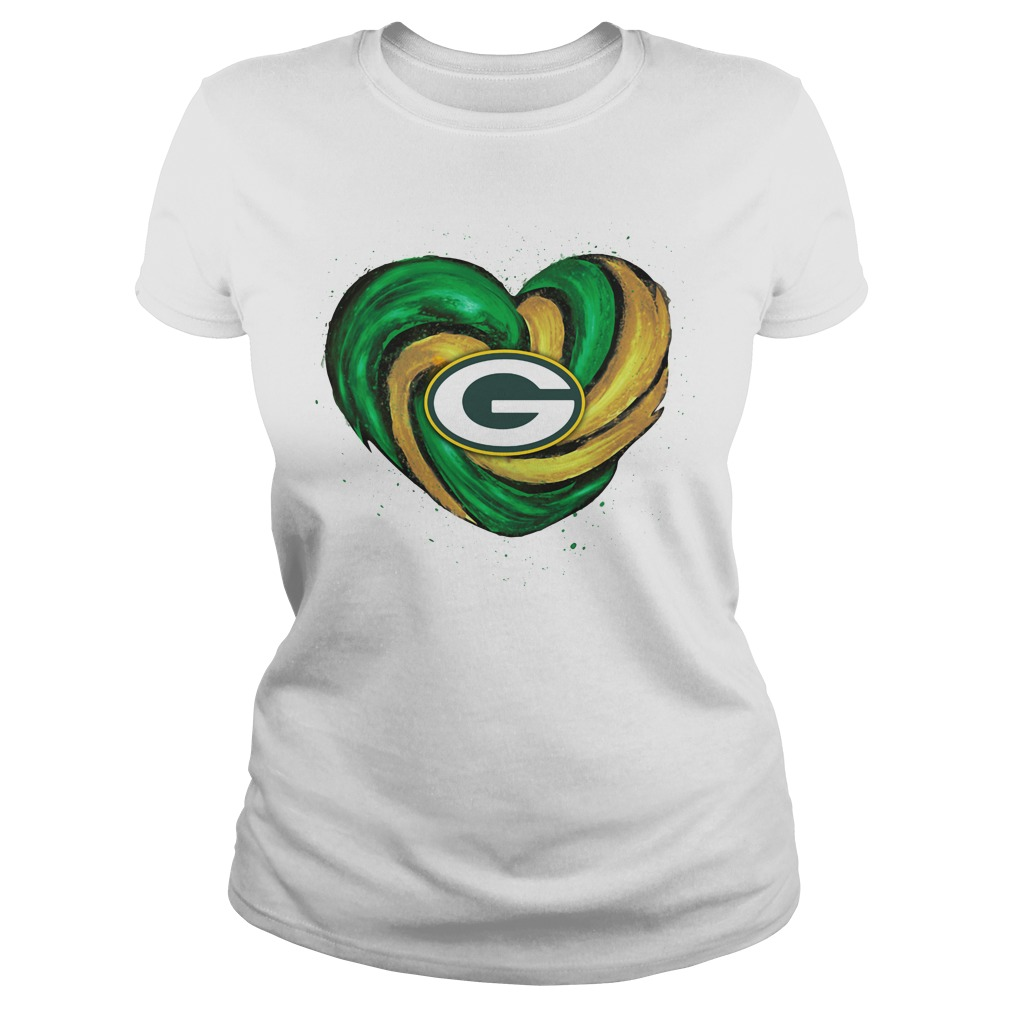 Hurricane Green Bay Packers heart Ladies tee