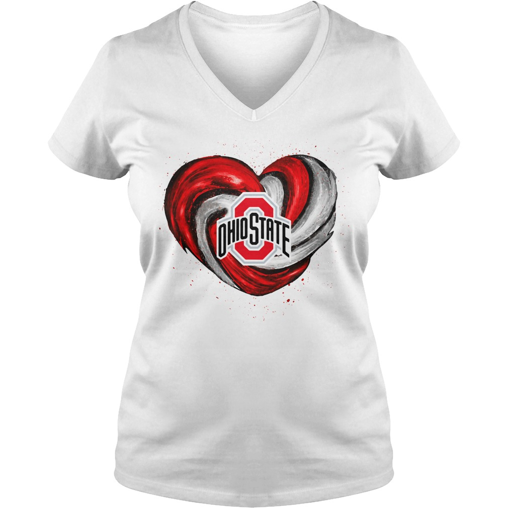 Hurricane Ohio State Buckeyes heart V-neck T-shirt