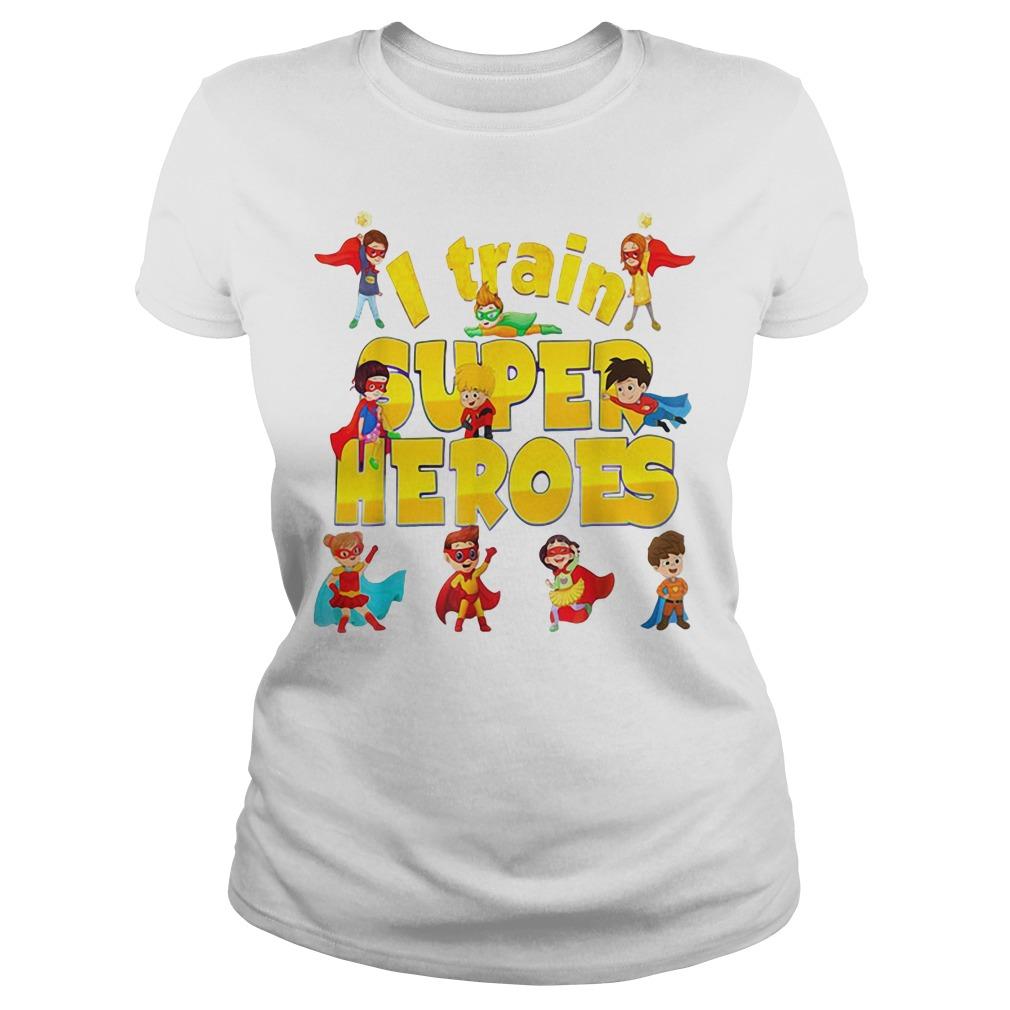 I train superheroes chibi Ladies tee