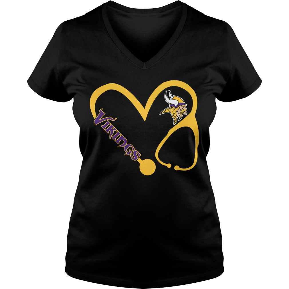 Minnesota Vikings love nurse Vikings V-neck T-shirt