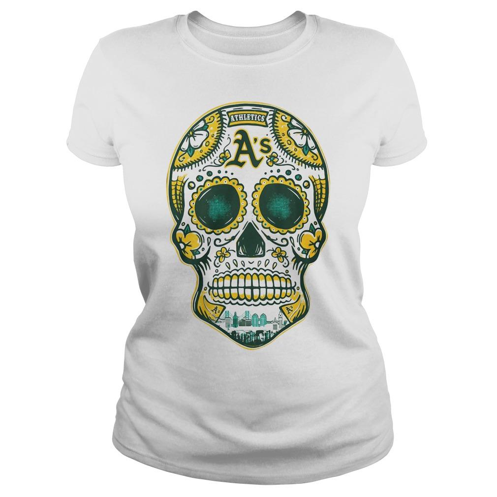 Oakland Athletics skull Ladies tee