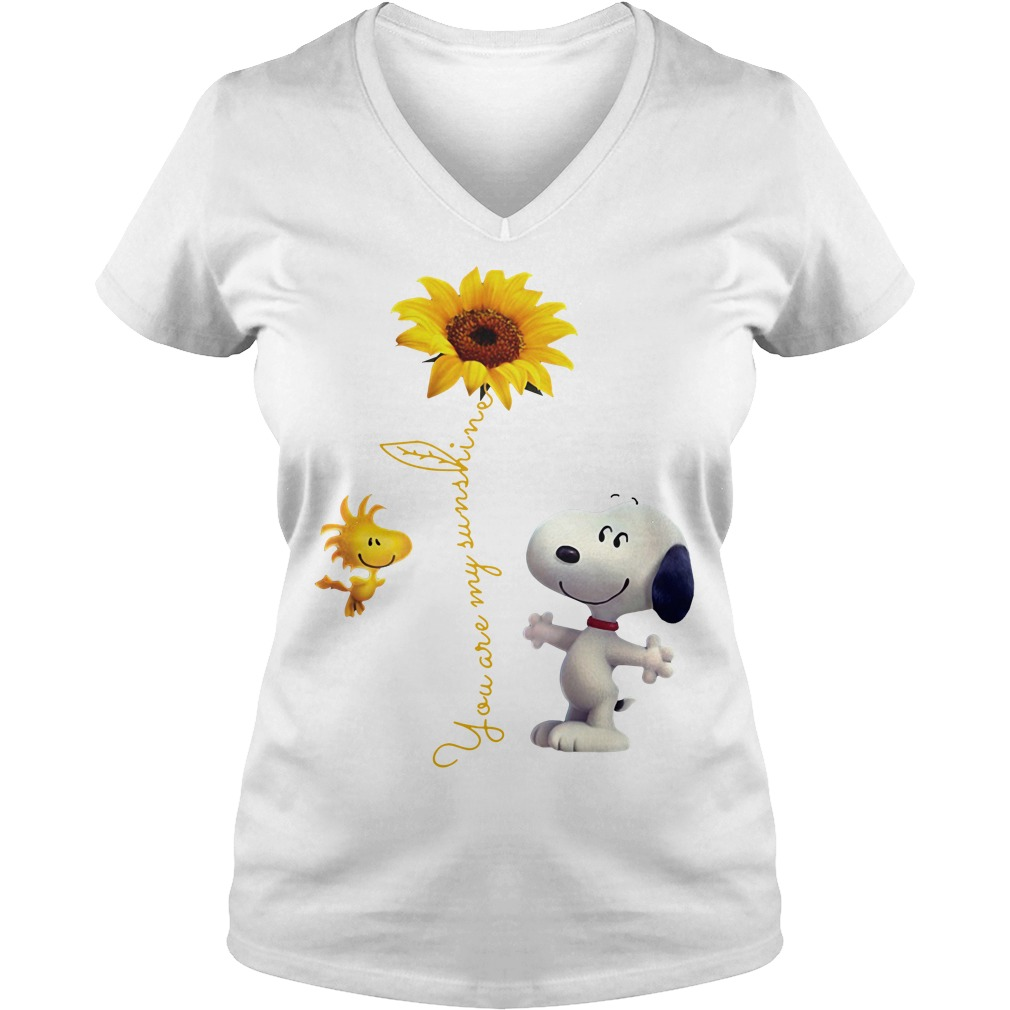 Snoopy and Woodstock You are My sunshine Sunflower V-neck T-shirt