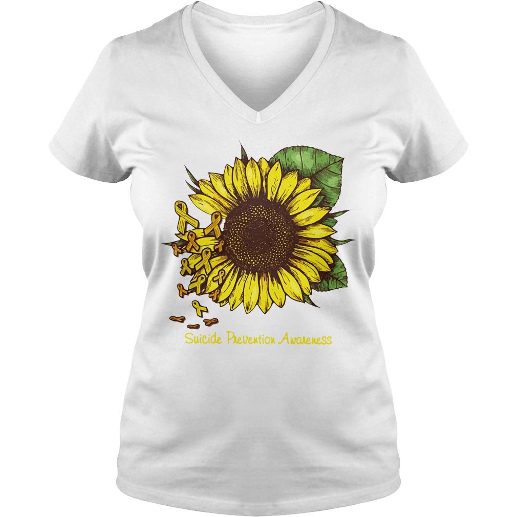Sunflower suicide prevention awareness V-neck T-shirt