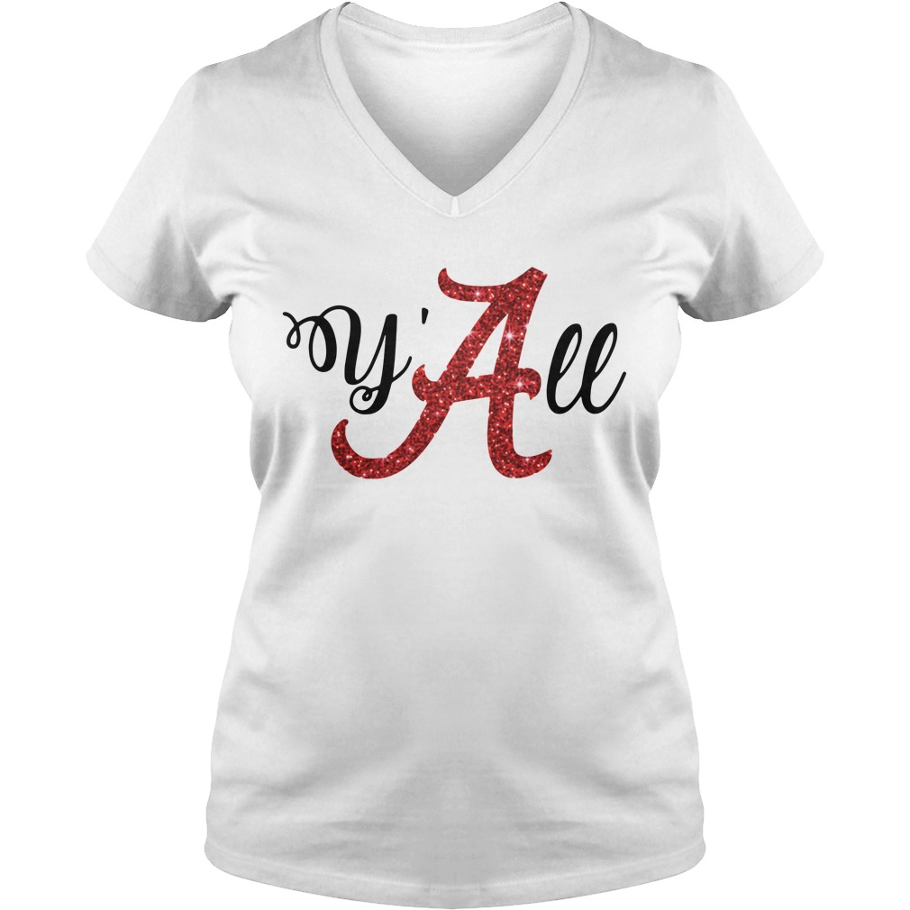 Y'all Alabama Crimson V-neck T-shirt