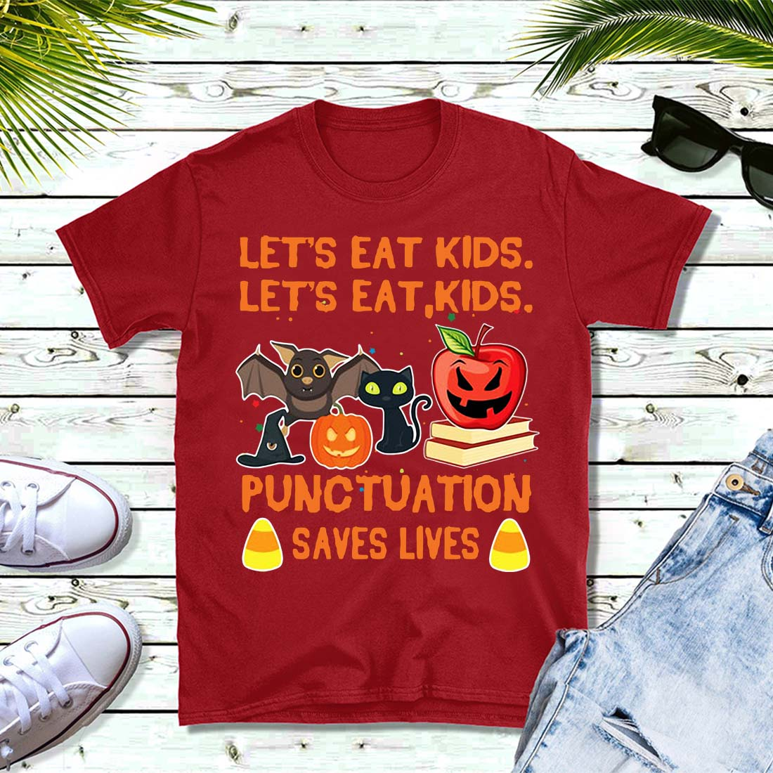 Halloween let's eat kids punctuation saves lives Ladies tee