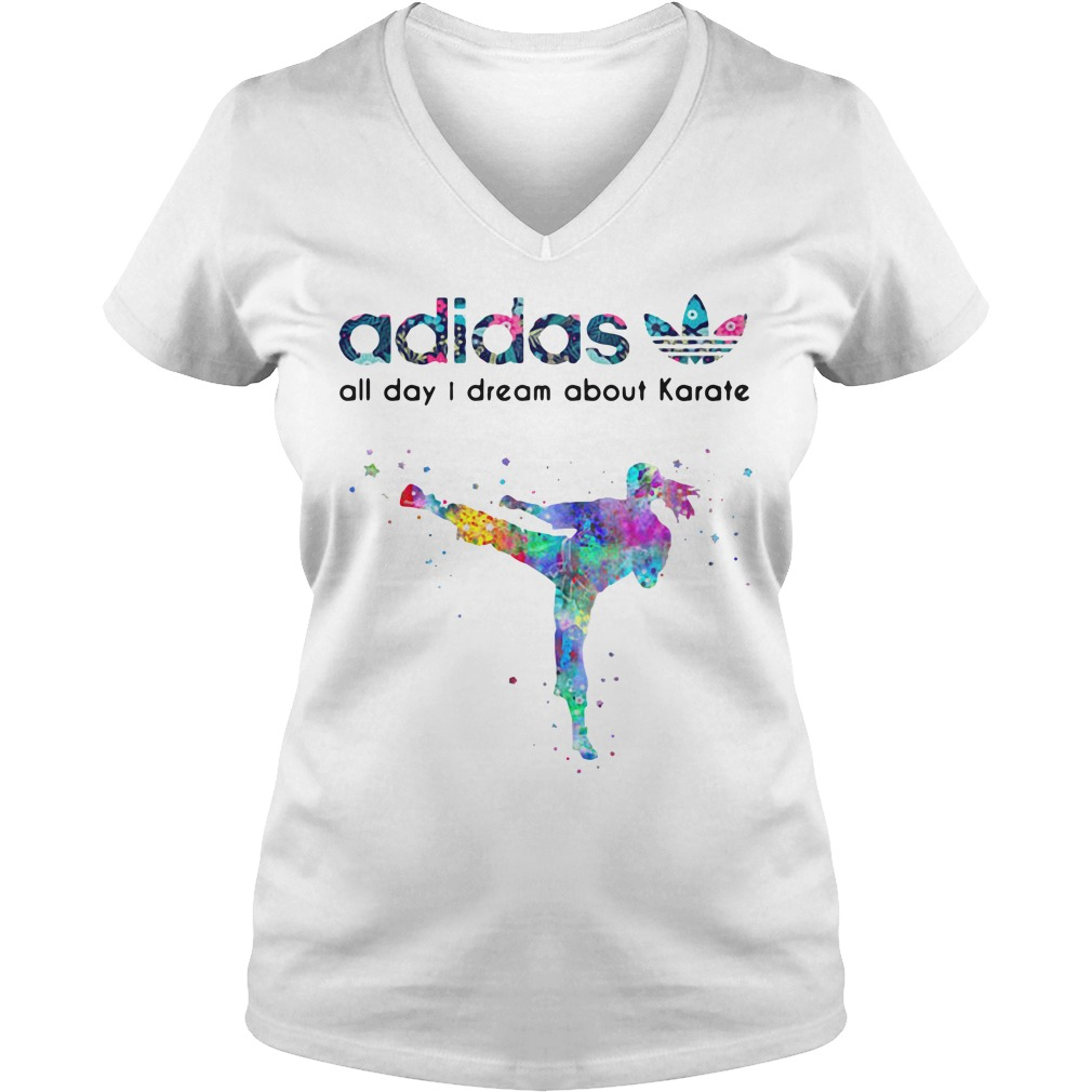 Adidas all day I dream about Karate V-neck T-shirt