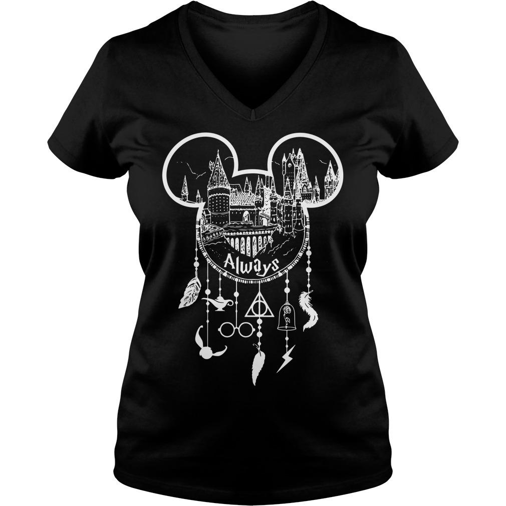 Always Mickey head Harry Potter Hogwarts dreamcatcher all disney V-neck T-shirt