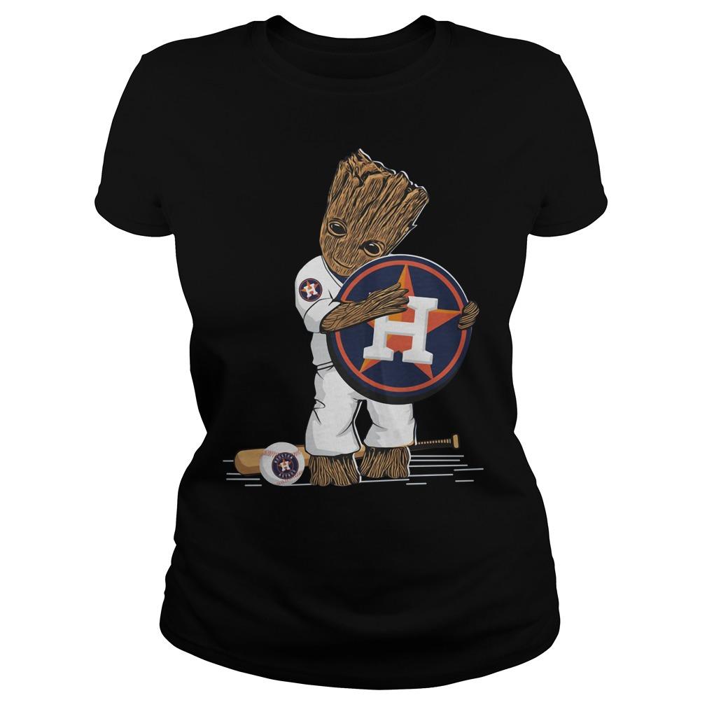 Baby Groot hug Houston Astros Ladies tee