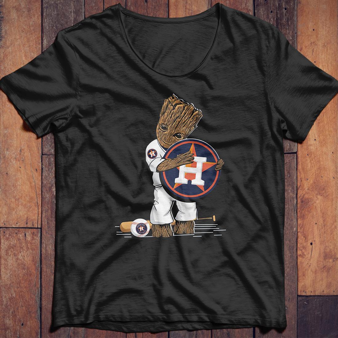 Baby Groot hug Houston Astros shirt