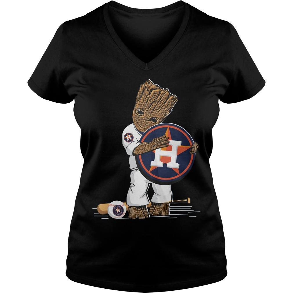 Baby Groot hug Houston Astros V-neck T-shirt