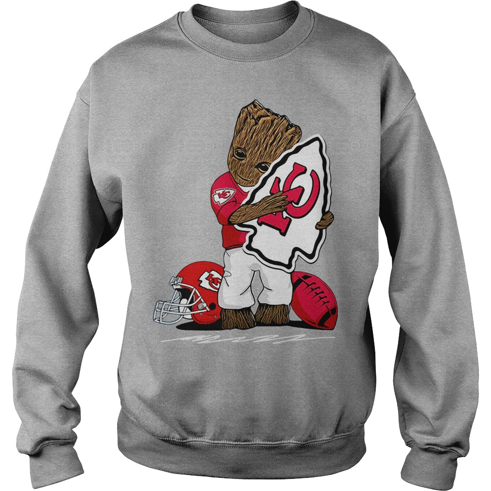 Baby Groot hug Kansas City Chiefs logo Sweater