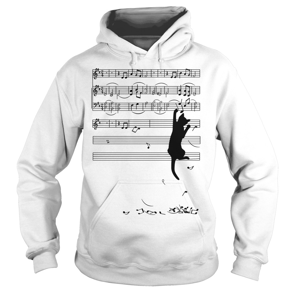 Black cat note music Hoodie