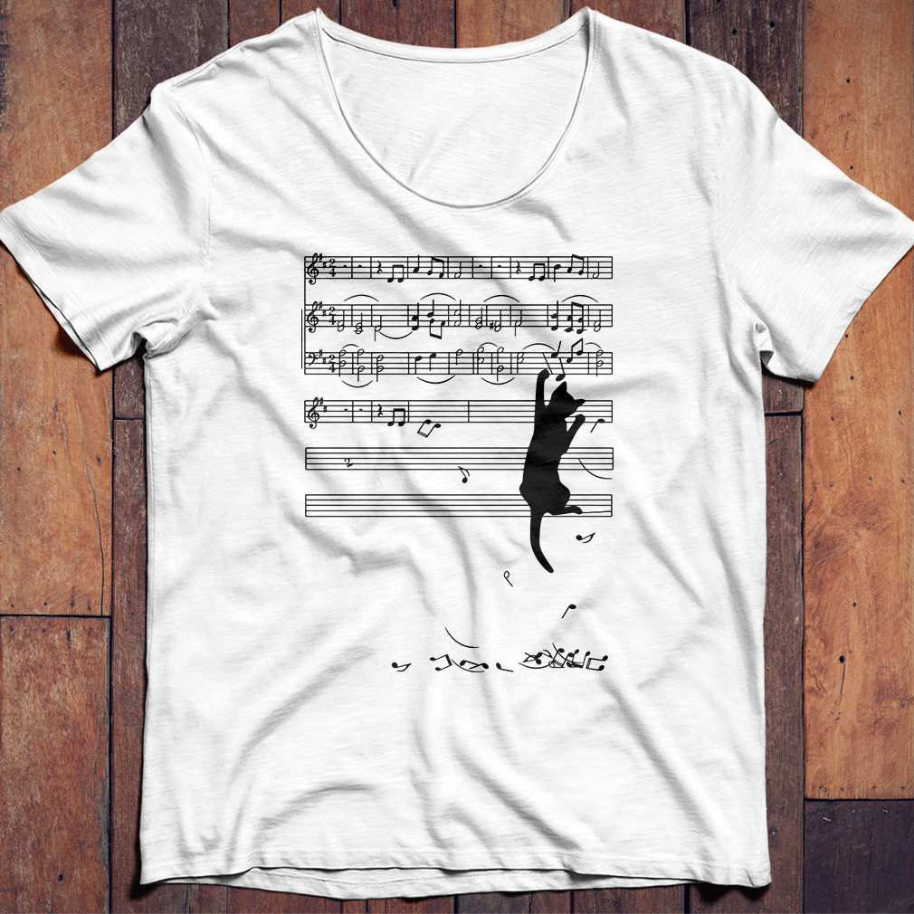 Black cat note music shirt