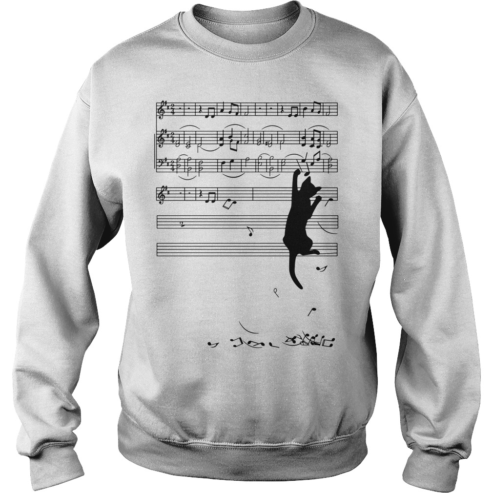 Black cat note music Sweater