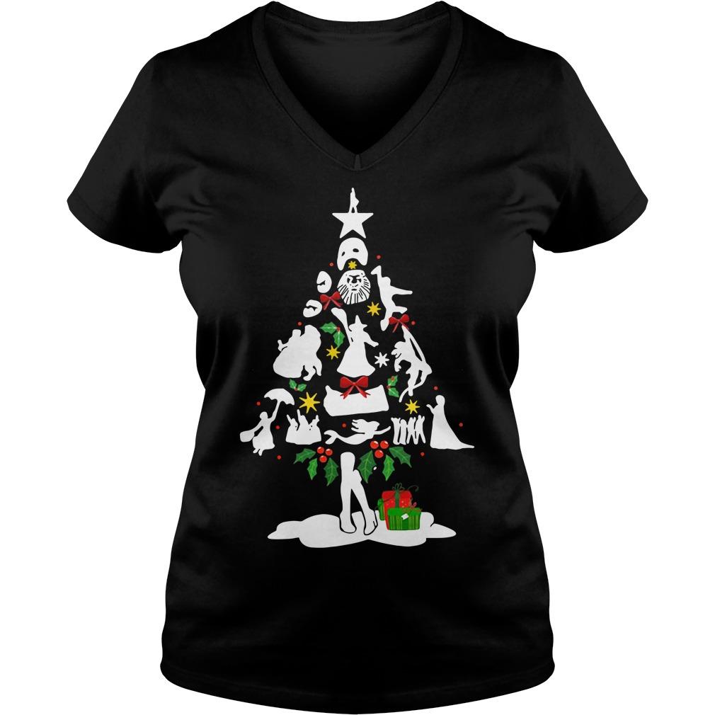 Broadway musical theatre christmas tree V-neck T-shirt