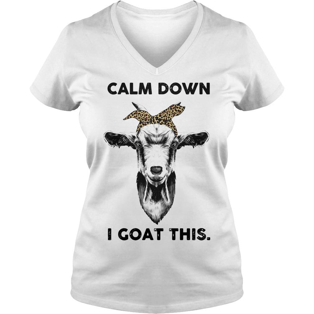 Calm down goat head sketch I goat this V-neck T-shirt