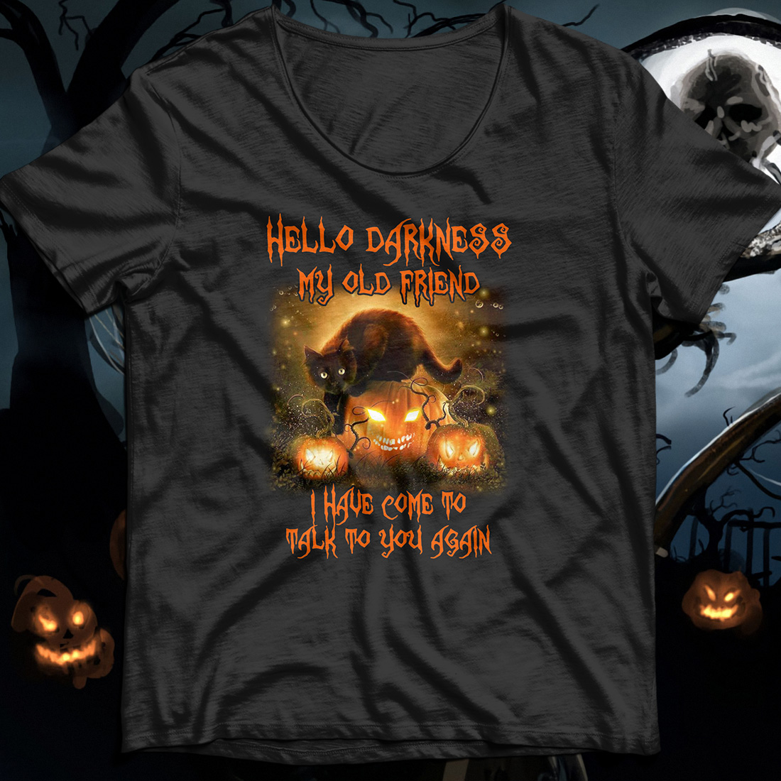 Cat Hello darkness my old friend I've come to talk with you again shirt