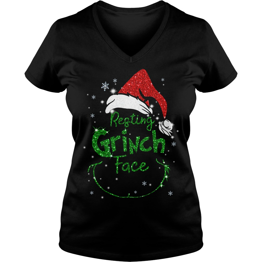Christmas resting Grinch face V-neck T-shirt