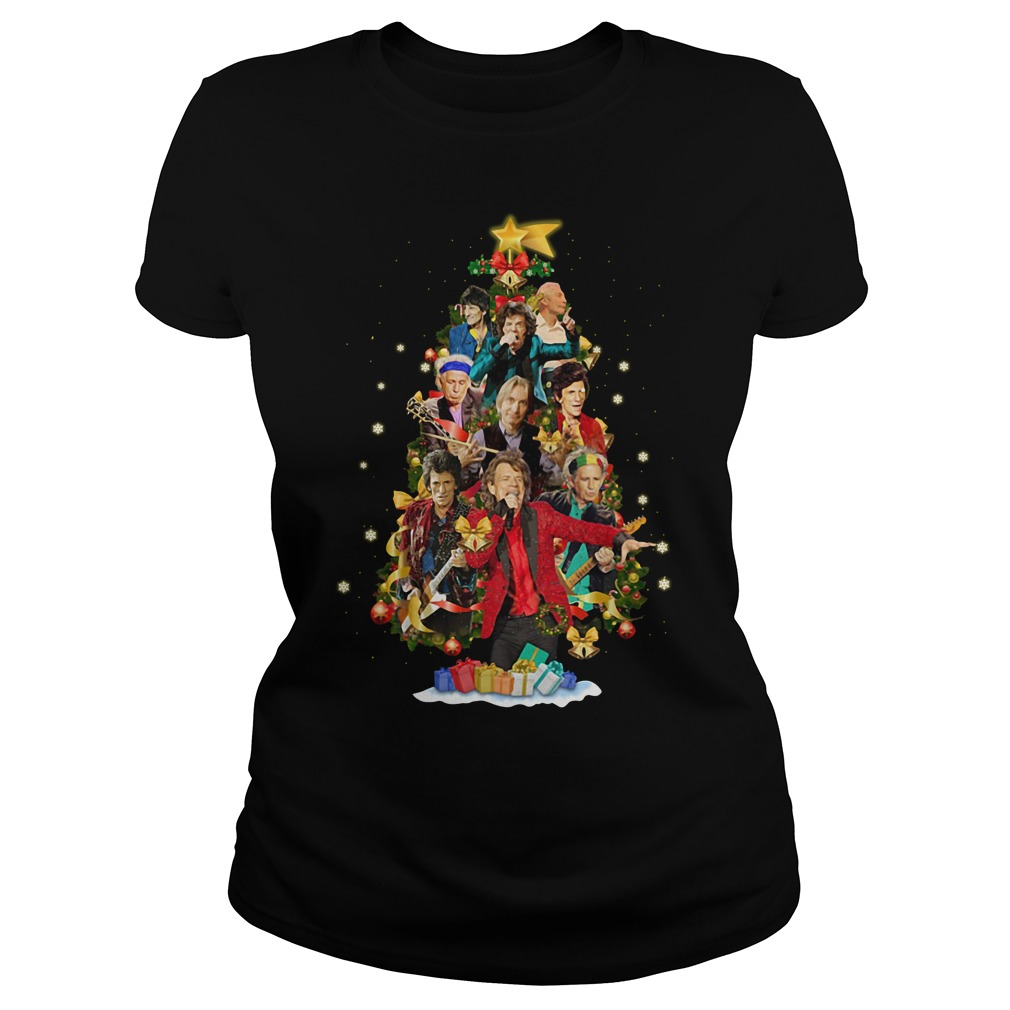 Christmas The Rolling Stones tree Ladies tee